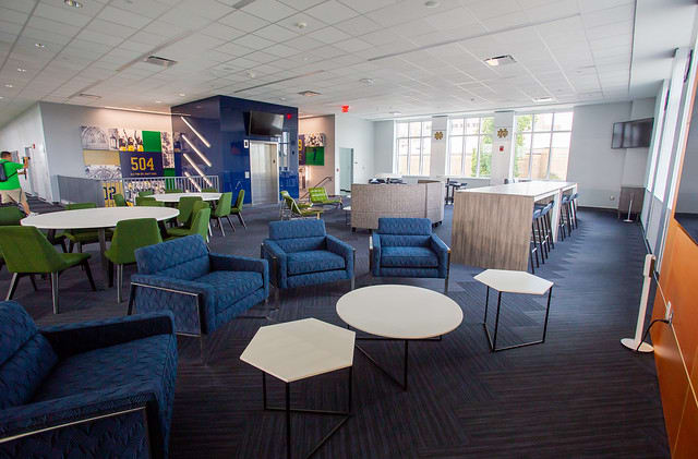 The recruiting lounge is on the second floor of the new Irish Athletics Complex.