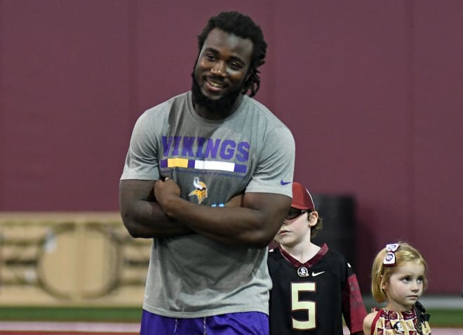 Former Florida State running back Dalvin Cook was donning his MInnesota Vikings shirt and shorts during Lift For Life on Tuesday.