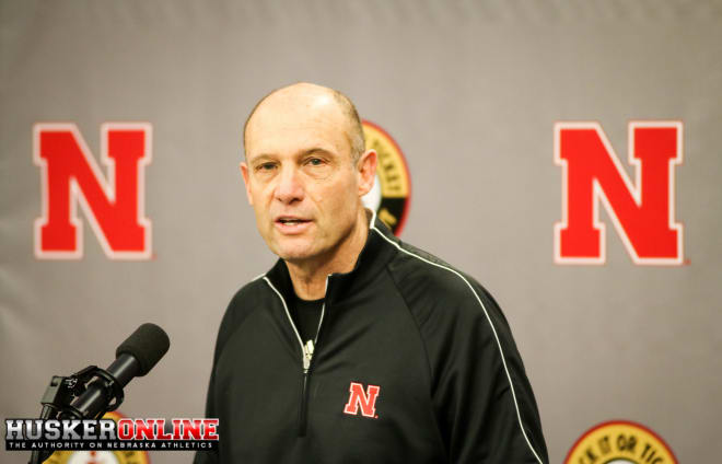 Nebraska head coach Mike Riley addressing the media at today's spring press conference