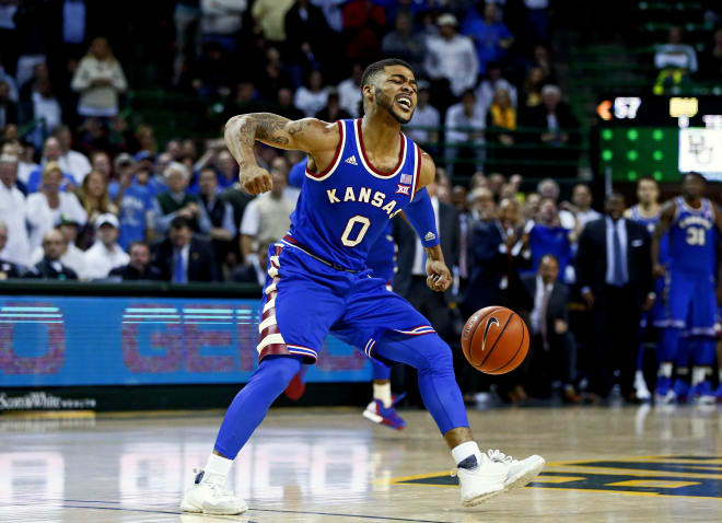 Frank Mason III celebrates in the second half of KU's victory over Baylor