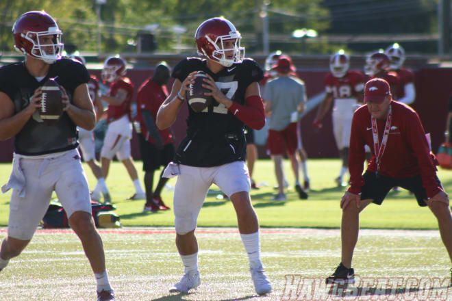 Nick Starkel is still wearing a sleeve, but he is expected to start Saturday at Kentucky.