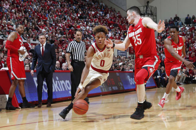 Romeo Langford (center with ball) is expected to be a first round pick in this month's NBA Draft.