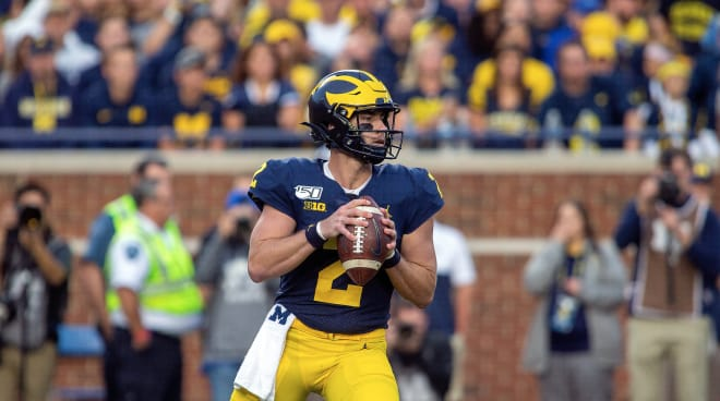 Michigan Wolverines football senior quarterback Shea Patterson threw for 2,600 yards with 22 touchdowns and seven picks last season.