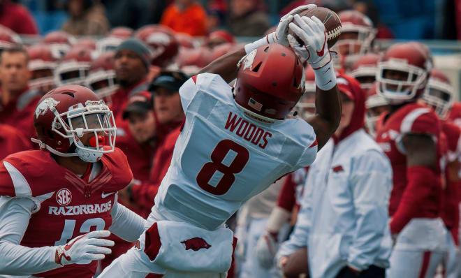 Arkansas true freshman wide receiver Mike Woods.