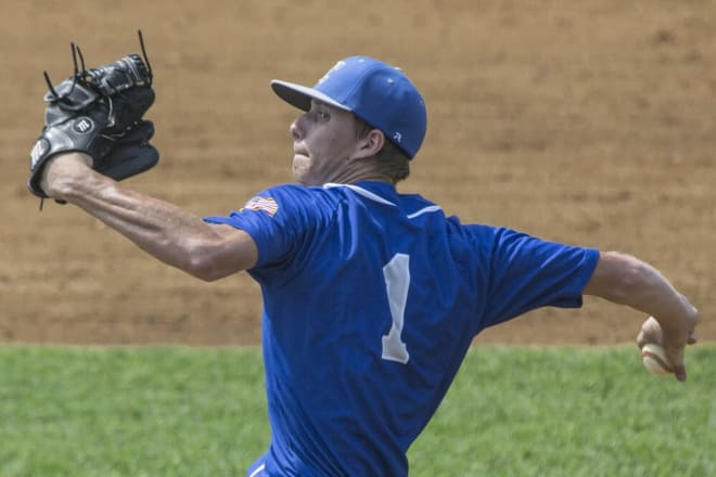 Courtland's Alex Kobersteen fired a two-hit complete game in a tough 2-1 loss to Colonial Beach on Thursday night.  It was the second complete game the senior hurler has thrown this season.