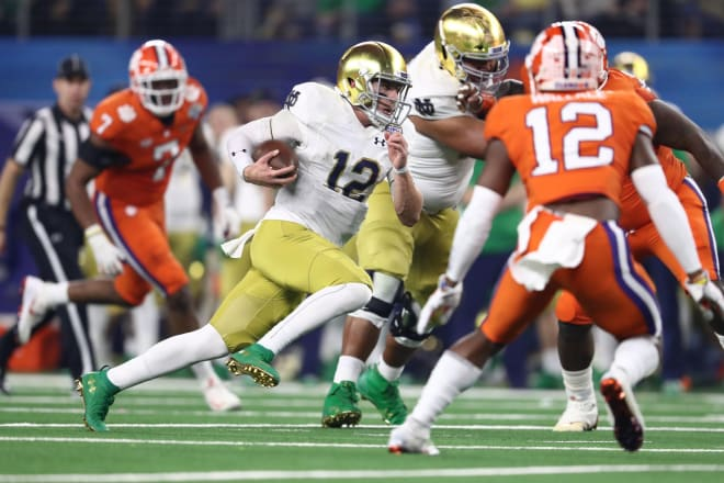 Notre Dame fifth-year senior quarterback Ian Book versus Clemson in the 2018 College Football Playoff
