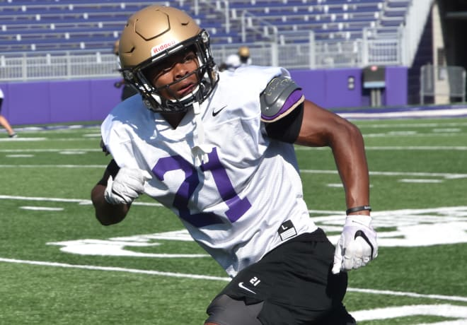 James Madison safety Adam Smith runs through a drill during Dukes practice earlier this week at Bridgeforth Stadium.
