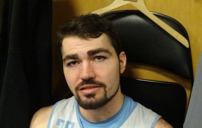 Luke Maye and six other Tar Heels discuss the NCAA Tournament on Thursday afternoon in Columbus.
