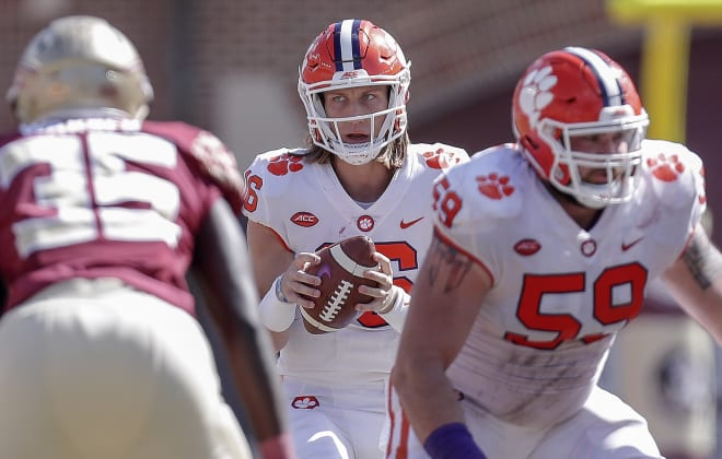 Clemson quarterback Trevor Lawrence is shown here versus Florida State in Tallahassee a year ago.