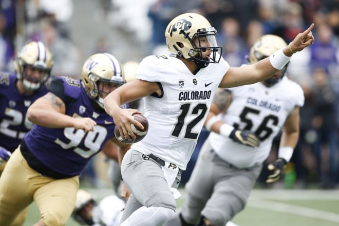 CU quarterback Steven Montez was pressured heavily a year ago, as he was sacked 30 times in 2018.