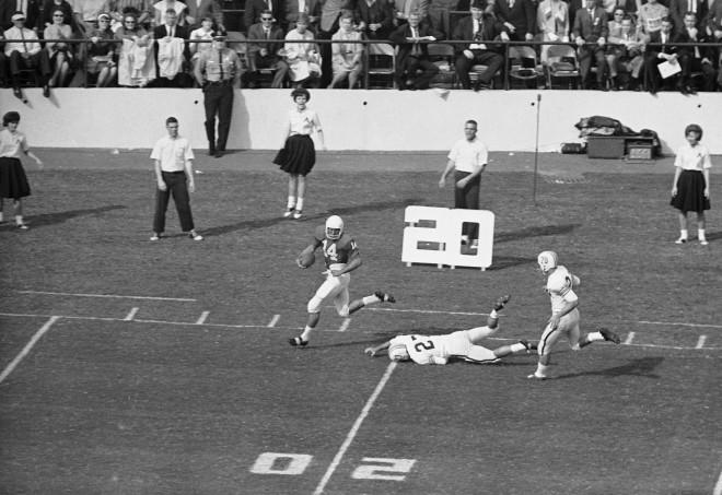 Nebraska QB Dennis Claridge broke the game open early with his 68-yard touchdown run against Auburn in the 1964 Orange Bowl.