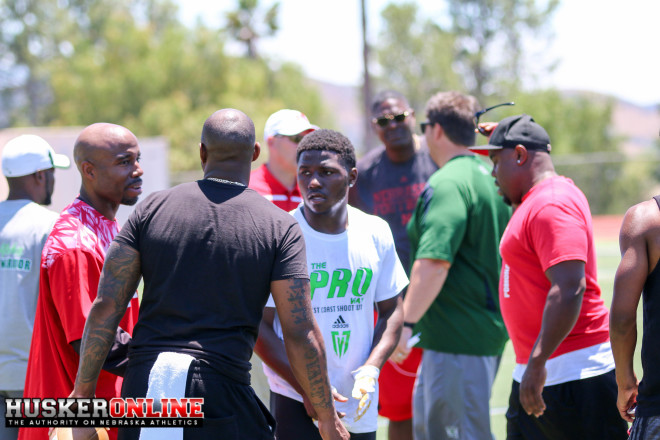 Huskers WR coach Keith Williams and WR Tyjon Lindsey