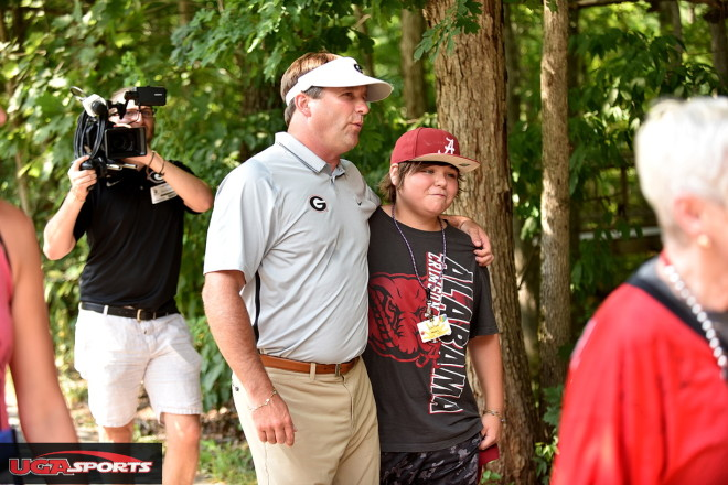 Smart said he had to talk to this young Alabama fan.