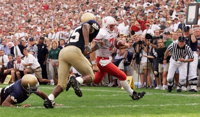 Nebraska quarterback Eric Crouch scored the game winner in overtime at Notre Dame in 2000.