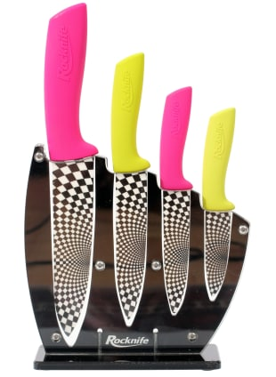 Pink and Lime Green Ceramic Kitchen Knife Set
