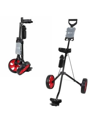 Ram Golf 2 Wheel Folding Steel Pull Cart with Water Bottle, Scorecard Holder and Removable Wheels