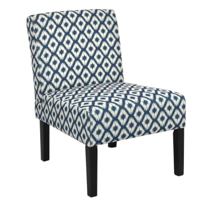 Homegear Home Furniture Accent Armless Chair - Contemporary Designs - Blue Diamonds