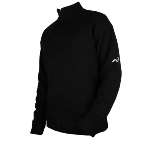 Woodworm Golf Lined Wool Half Zip Sweater - Black