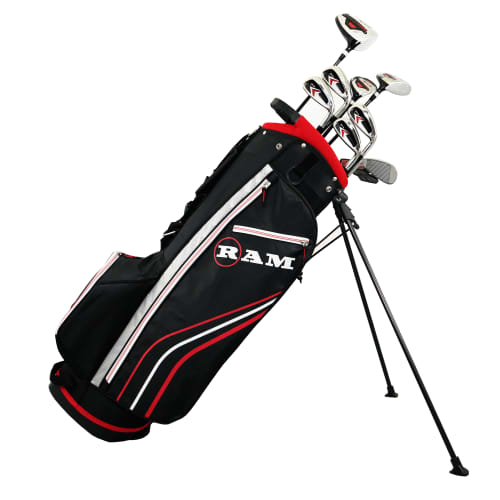 Ram Golf Accubar 1 Inch Longer 13pc Golf Clubs Set - Graphite Shafted Woods, Steel Shafted Irons - Mens Right Hand - Stiff Flex