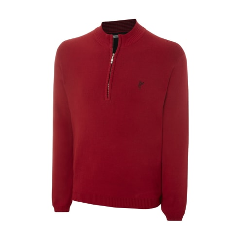 Ashworth Mens Solid Half-Zip Sweater - Red