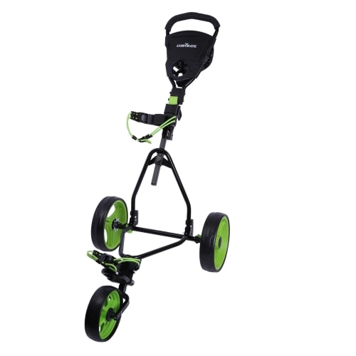 Caddymatic Junior Golf Trolley - 3 Wheel Folding Trolley for Kids- Black/Green