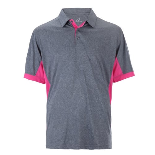 Woodworm Heather Golf Polo Shirts - Grey / Pink
