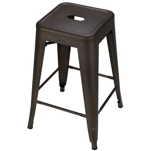 OPEN BOX Homegear 4 Pack Stackable Metal Kitchen Stools - Brushed Bronze