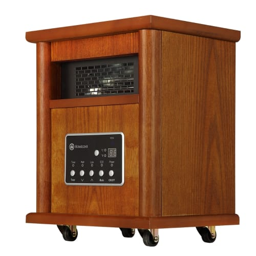 Homegear Deluxe 1500W Infrared Electric Portable Wooden Space Heater Brown with Remote Control