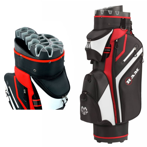 Ram Golf Premium Trolley Bag with 14 Way Molded Organiser Divider Top Black Red White