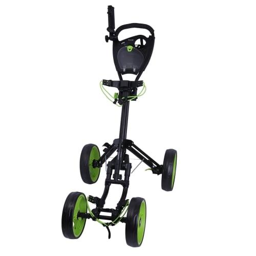 Ram Golf Deluxe FX 4 Wheel Golf Trolley - Black/Green
