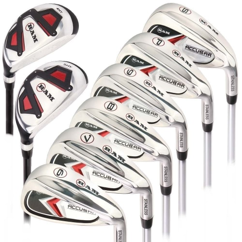 Ram Golf Accubar Mens Clubs Graphite/Steel Iron Set 6-7-8-9-PW-SW with Hybrids 24° and 27°