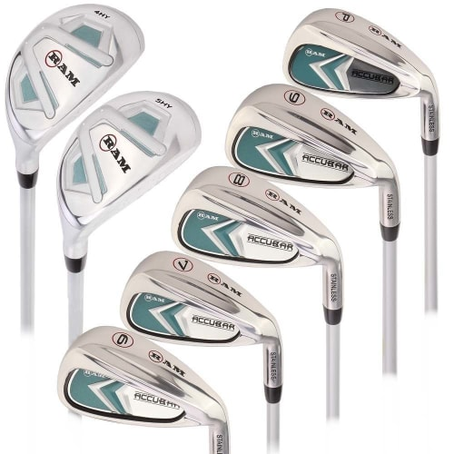 Ram Golf Accubar Lady Clubs Iron Set 6-7-8-9-PW with Hybrids 24° and 27°