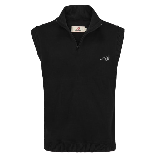 Woodworm Sleeveless Sweater Vest with Zip - Black