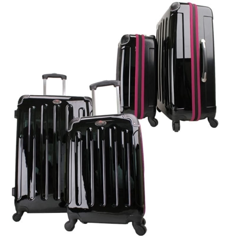 OPEN BOX Swiss Case 4W 2pc Suitcase Set Black / Purple