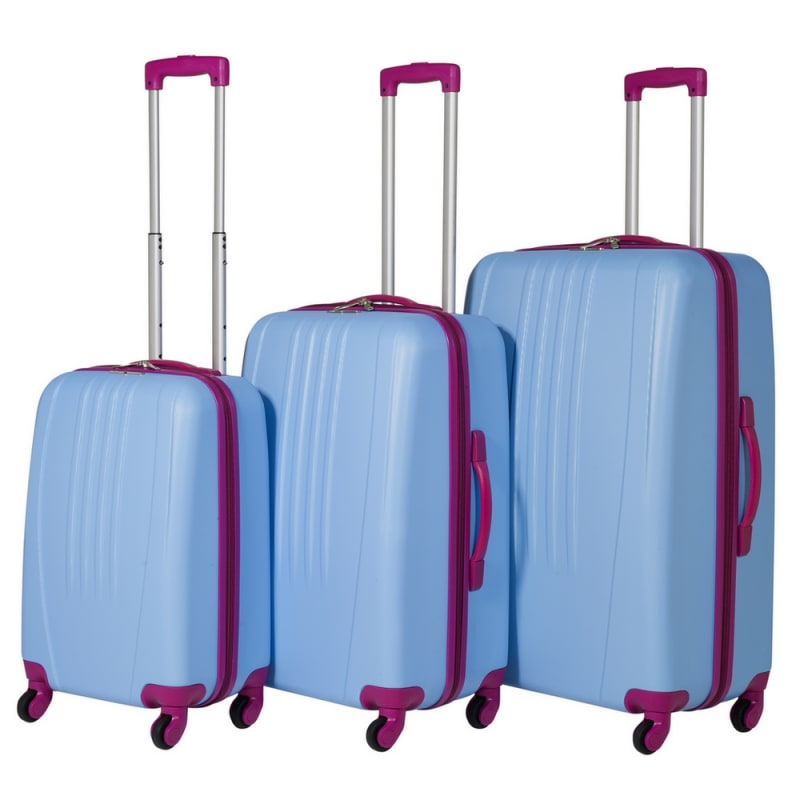 Swiss Case 4 Wheel Bold 3Pc Suitcase Set - Blue / Pink