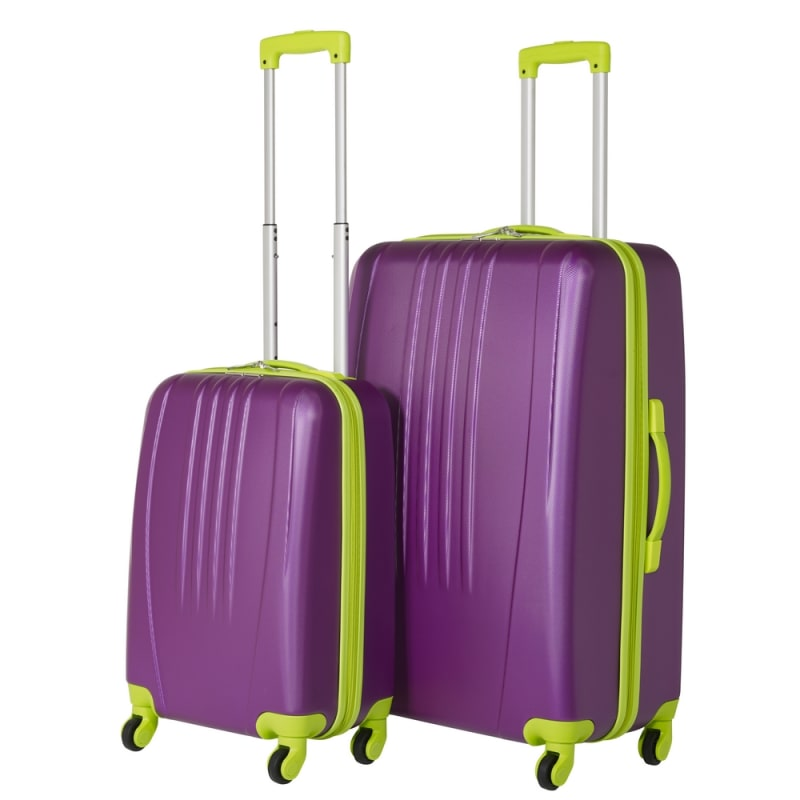 Swiss Case 4 Wheel Bold 2Pc Suitcase Set - Purple / Lime