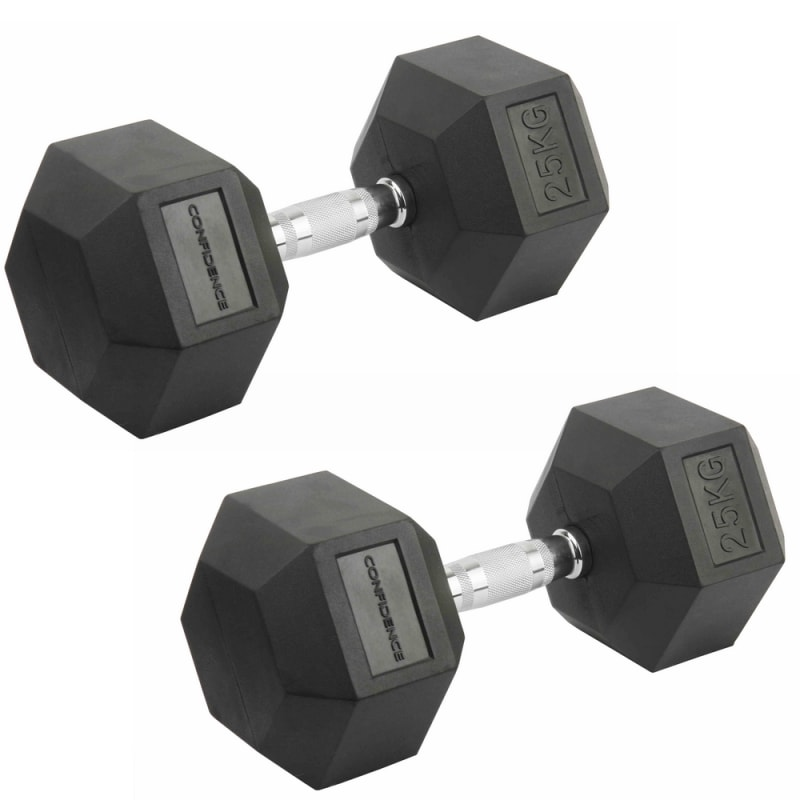 Confidence Fitness 25kg Rubber Hex Dumbbell Set