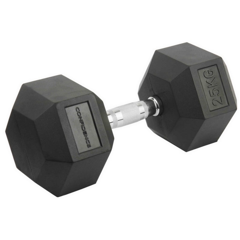 Confidence Fitness 25kg Rubber Hex Dumbbell