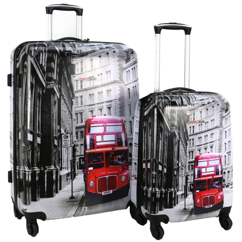 Swiss Case 4 Wheel 2Pc Hard Suitcase Set - London Bus