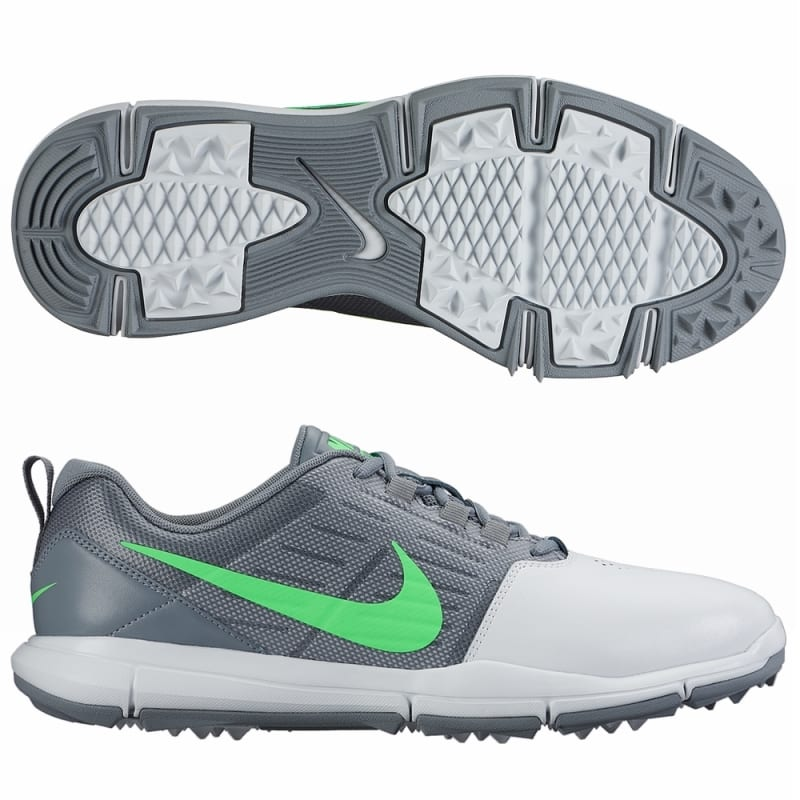 Nike Explorer Golf Shoes - Platinum / Green / Grey