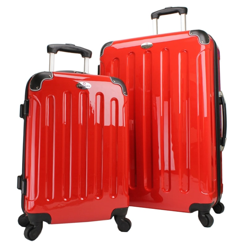 2fb68d2f6 Swiss Case 4 Wheel Hard 2Pc Suitcase Set Red just £78.99 - Suitcases ...