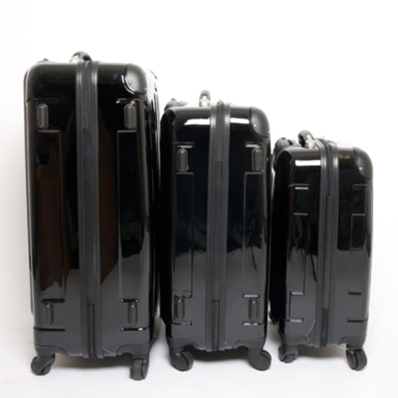 OPEN BOX Swiss Case Black 4 wheel 3 Piece Hardcase Luggage Set #1