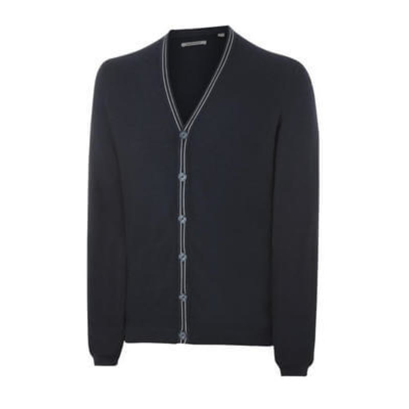 Ashworth Mens Cotton Cardigan Navy