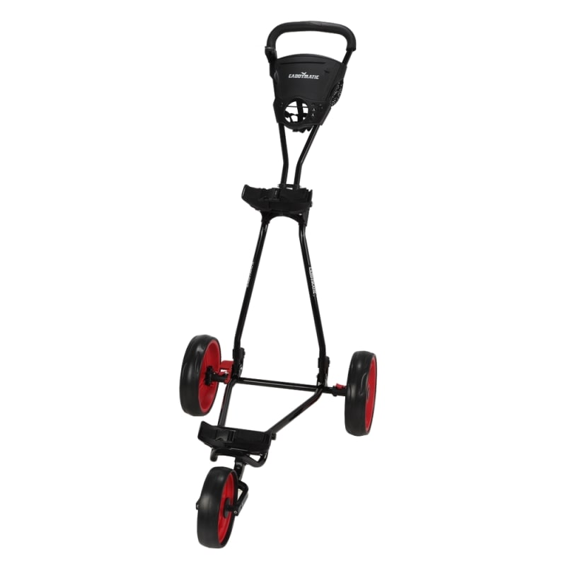 OPEN BOX Caddymatic Golf Continental 3 Wheel Folding Golf Push/Pull Cart Black/Red #