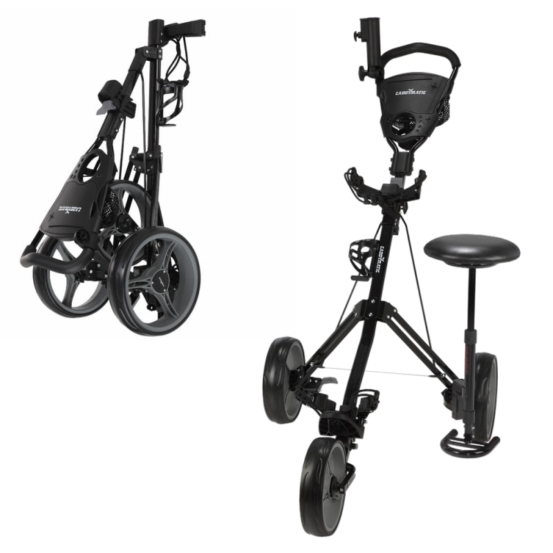 Caddymatic Golf X-TREME 3 Wheel Push/Pull Golf Tolley with Seat Black