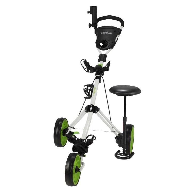 OPEN BOX Caddymatic Golf X-TREME 3 Wheel Push/Pull Golf Cart with Seat White/Green #