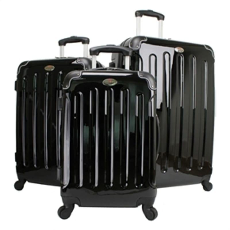 OPEN BOX Swiss Case Black 4 wheel 3 Piece Hardcase Luggage Set