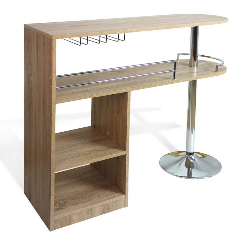Homegear Kitchen Cocktail Bar Table - Oak #1