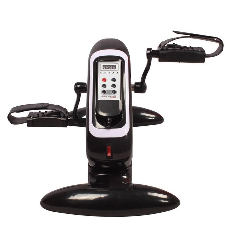 OPEN BOX Confidence Fitness Motorized Electric Mini Exercise Bike Black / White #3