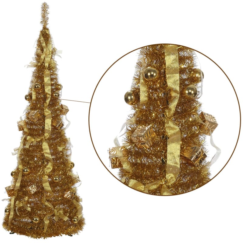 Collapsible Christmas Tree.Homegear 5ft Artificial Tinsel Decorated Collapsible Christmas Tree Gold